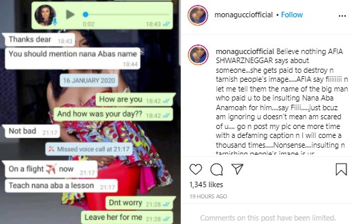Afia Schwarzenegger was paid to destroy Nana Aba Anamoah - Mona Gucci reveals