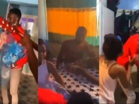 A young man caught girlfriend with another man in bed while presenting Val's day gift [Video]